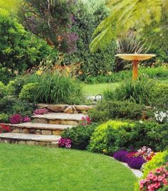 Garden landscape. Beautiful setting and love the stone risers on the great steps of the garden path up to the bird feeder........