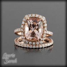 Rose Gold Morganite Engagement Ring Set with Prong Set Diamond Wedding Band - LS2724