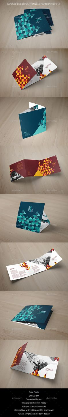 Square Colorful Triangle Pattern Trifold Brochure Template InDesign INDD