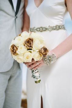 Off-white and golden bridal bouquet!