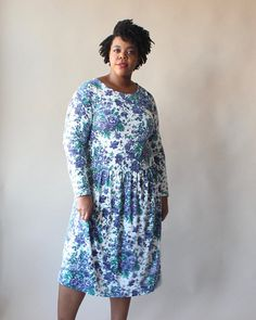 vintage plus size dress blue floral midi dress size 12-16