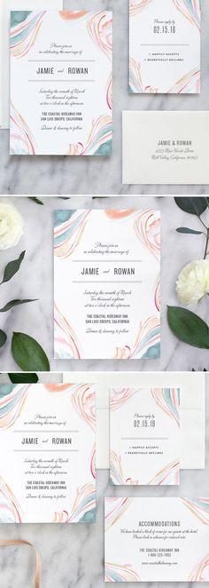 Fine Day Press // Marble Watercolor Wedding Invitations