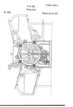 Improvement in rotary printing-press - R. Patent Drawing, Printing Press, Technical Drawing, Hoe, Rotary, Classroom Decor, Printmaking, Type 3, House Ideas
