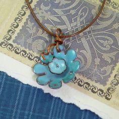 Enamel Necklace  Summer Sky Blue Daisy   by ArtJewelryByIleneKay, $62.00