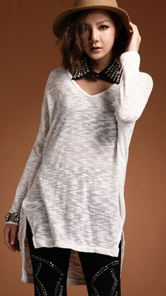 Korean Style Women Long Sleeve and Length White Cotton Blouse One Size @FZ9531w