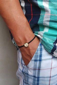 Men bracelet- Boys bracelet- Anchor bracelet- Men anchor bracelet- Bangle bracelet- Brown man jewelry- Gift for men, boyfriend, dad