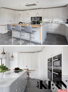 In this kitchen extension, a bank of PureLine Miele ovens help to keep the design streamlined Shaker Style Kitchens, Shaker Kitchen, Interior Design Living Room, Interior Decorating, Kitchen Decor, Kitchen Design, Kitchen Trends, Timeless Design, Ovens