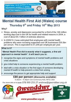 """First Aid - Yes CPR - Yes Mental Health First Aid?    """"Mental Health First Aid is exactly what it suggests, a first aid approach to mental health"""".    - 1 in 4 people experience Mental Health problems  - 1 in 6 at any one time  - You WILL know someone experiencing mental health distress  - Mental Health First Aid will help you to help them!"""