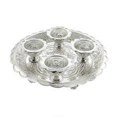 Jpearls Pure Silver Pooja Thali with Haldi Kumkum Dabi   Pure Silver Plate