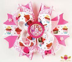 Moño de Shopkins! Frutas, Vegetales, Mercado, fiesta, elegante, lindo, niñas, hispana, rosado, fucsia