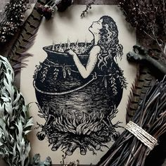 A hedge witch relaxes in her clawfoot cauldron tub on the edge of the woodlands. Ritual baths are implemented in many forms of witchcraft for a variety of different intentions such as healing, purification, transformation, meditation, and protection. This magical bath is drawn with pure water and infused with herbs that correspond to the intention -Pinned by The Mystic's Emporium on Etsy