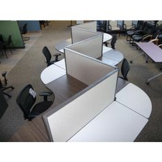 Used Collaborative Serpentine Office Cubicles Clusters