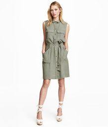 Sleeveless Shirt Dress | Light khaki | Women | H&M US