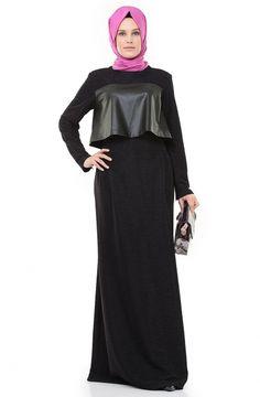 Tuay Karaca Deri Detaylı Elbise-Mürdüm 530tk-51