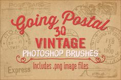 Going Postal Vintage PS Brushes by Robyn Gough Designs on Creative Market