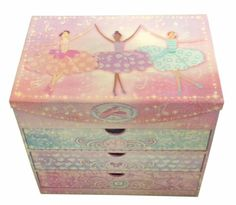 Punch Studio Ballerinas Mirror Chest Girl Bedroom Desk or Drawer Organizer -- Click image for more details.