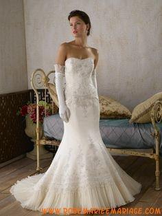 Robe ivoire sirène 2012 avec traîne broderies robe de mariée satin