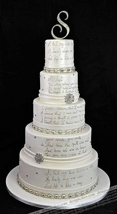 Swarovski crystal cake topper (Toppers With Glitz) on silver and white winter wedding cake (Design Cakes). White Wedding Cakes, Beautiful Wedding Cakes, Gorgeous Cakes, Pretty Cakes, Amazing Cakes, White Cakes, Foto Pastel, Bolo Cake, Wedding Cake Inspiration