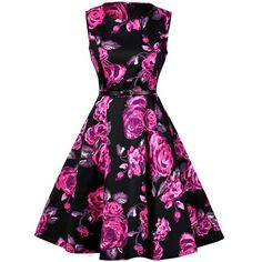 Floral Print Cotton Vintage Formal Tea Dress (26 CAD) ❤ liked on Polyvore featuring dresses, vintage dresses, vintage floral print dress, floral cotton dress, floral tea dress, vintage tea dress and flower print dresses