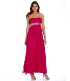 JS Boutique Strapless Beaded-Empire Gown | Dillards.com