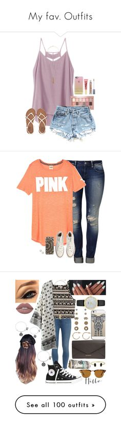 """""""My fav. Outfits"""" by xo-arissa-xo ❤ liked on Polyvore featuring RVCA, Maybelline, Billabong, Forever 21, Casetify, Too Faced Cosmetics, Urban Decay, Mavi, Converse and Paige Denim"""