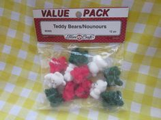 Remember these 1980s greats!  They were everywhere in the 80s.  Little Mini Bears.  12 Fiber Craft Teddy Bears Vintage Flocked Bears.