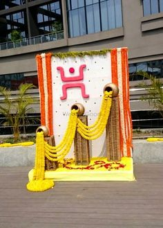 Picture from FulSojja Photo Gallery on WedMeGood. Browse more such photos & get inspiration for your wedding Naming Ceremony Decoration, Wedding Hall Decorations, Marriage Decoration, Wedding Entrance, Wedding Mandap, Entrance Decor, Diwali Decorations, Festival Decorations, Flower Decorations