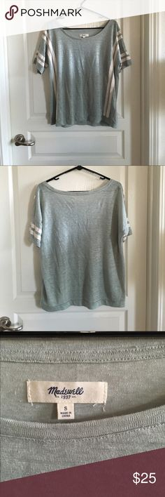 Madewell Banded Tee in Courtstripe Size Small Varsity stripe style t-shirt with slouchy neckline and banded hem. Drapey/oversized fit. Linen. Color is light sage green with ivory stripes. Only worn a couple of times, so still looks new. No trades or Paypal. Madewell Tops Tees - Short Sleeve