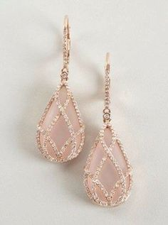 Rose Quartz & Diamond Drop Earrings ....