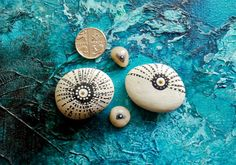 SOLD - Miniature original art work on stone: four unique hand painted British pebbles | eBay | by Jay Taylor www.jaytaylor.co.uk - auction ends Saturday 3rd August!