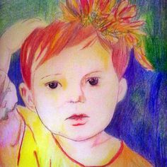 Meisje met bloemen in het haar. Girl with flowers. tekening met kleurpotlood. Drawing with pencil.