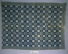 Coverlet; undyed cotton and blue wool, twill variation. American Textile History Museum in Lowell, Massachusetts