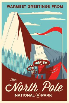 The North Pole can be defined as the point in the Northern Hemisphere where the Earth's axis of rotation meets its surface. The North Pole is the northernmost point on the Earth, lying diametrically opposite the South Pole. National Park Posters, National Parks, Wallpaper Cars, Retro Vintage, Modern Retro, Postcard Design, Travel Design, Cool Posters, Movie Posters