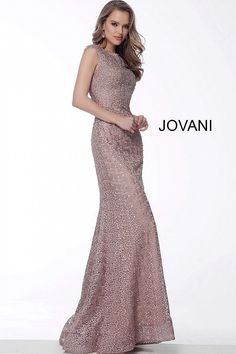 91ce4106789 jovani Mauve Fitted Embellished Evening Dress 64571 Fabric Beads
