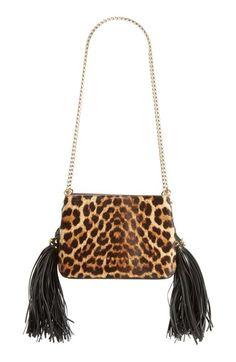 909ff2bb4d78 Christian Louboutin  Small Triloubi  Leopard Print Calf Hair Handbag White  Purses
