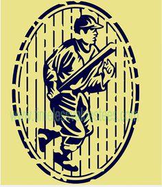 Retro Baseball Player Running w Bat Vintage Distressed Oval Bumper Sticker Decal Car Stencil Laptop Window Sticker Vinyl by TimeofReason on Etsy
