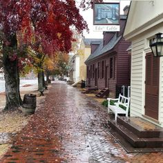 A rainy November day in CW. This is a view looking west from near the Edinburgh Castle Tavern.  #colonialwilliamsburg #virginia #thedogstreetpatriot #loveva #autumn #rainyday #brickpath #18thcentury #edinburghcastle by the_dog_street_patriot