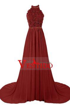2016 cabestro vestidos de baile Una línea de gasa y encaje barrido tren sin respaldo