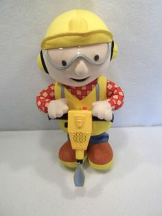 "2001 Bob the Builder Jackhammering Bob 14"" plush toy doll USED"