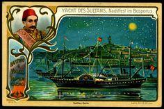 https://flic.kr/p/7V9Ueg | German Tradecard - Royal Yachts Series #6 | Hartwig & Vogel Chocolate c1905. The Sultan (Abdulhamid II) yacht, nigh-time festival in the Bosphorus