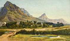 Landscape with Black River and Lion's Head by Charles Rolando Visual Memory, Woodstock, Cape Town, Lions, South Africa, Landscapes, The Past, African, Graphics