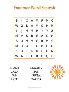This easy summer word search puzzle will give young children a little something to keep them happily occupied while they are learning. Includes vocabulary from the warmer months of the year.