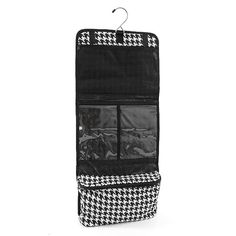 25' Women's Houndstooth Hanging Cosmetic Bag (Black/White w/ Black Trim) -- Additional details at the pin image, click it  : Travel cosmetic bag