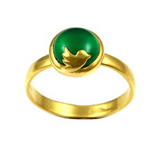 Exxotic Jewelz Twitter Gold Plated Green Onyx Ring