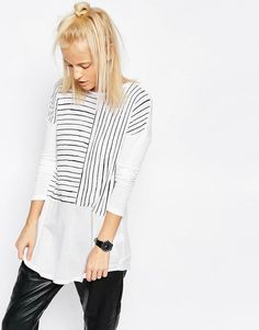 ASOS | ASOS Longline Top In Cutabout Stripe With Woven Panel at ASOS
