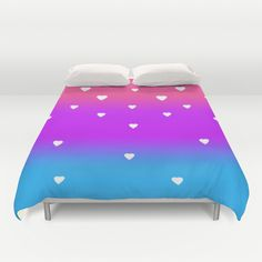 Rainbow with White Hearts Duvet Cover for girls bedroom bedding decor #decampstudios