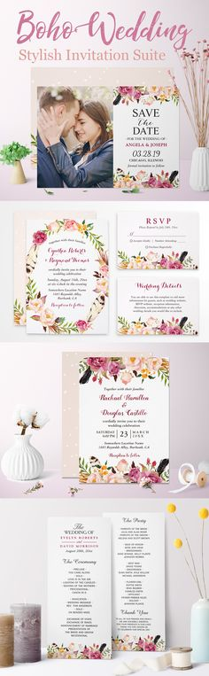 Stylish Wedding Invitation Suite: Bohemian Feather Floral Theme Wedding Invitation Trends, Spring Wedding Invitations, Wedding Themes, Wedding Signs, Rustic Boho Wedding, Floral Theme, Menu Cards, Feather, Bohemian