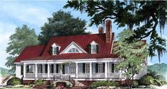Colonial Country Farmhouse Plantation Elevation of Plan 86143