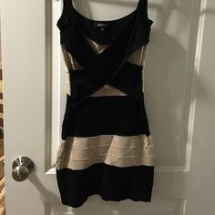 Bebe bandage dress Tan and black striped Bebe dress bebe Dresses Mini