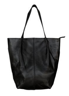 b52bd0e362 Bolsa Feminina de Couro Legítimo Minimalista Sacola Preta